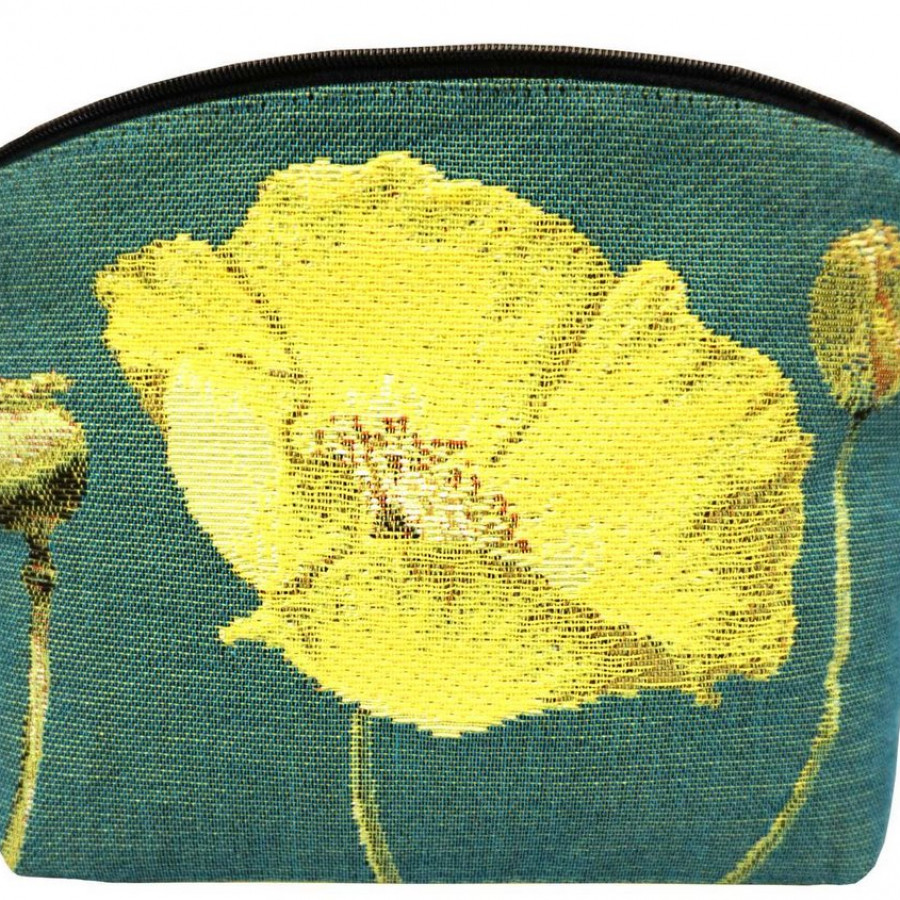 5666V : Yellow poppies, green background