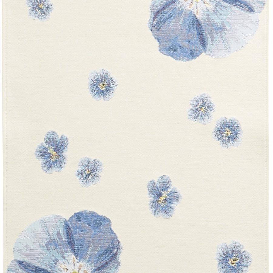 5732B : fleurs de lin, fond blanc