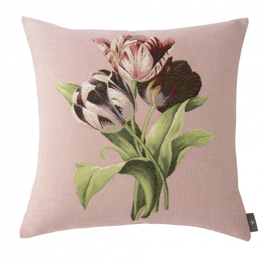 5762E  : Bouquet de 3 tulipes, fond rose
