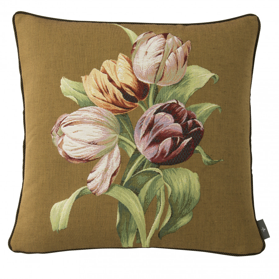 5761K  : Bouquet de 4 tulipes, fond marron