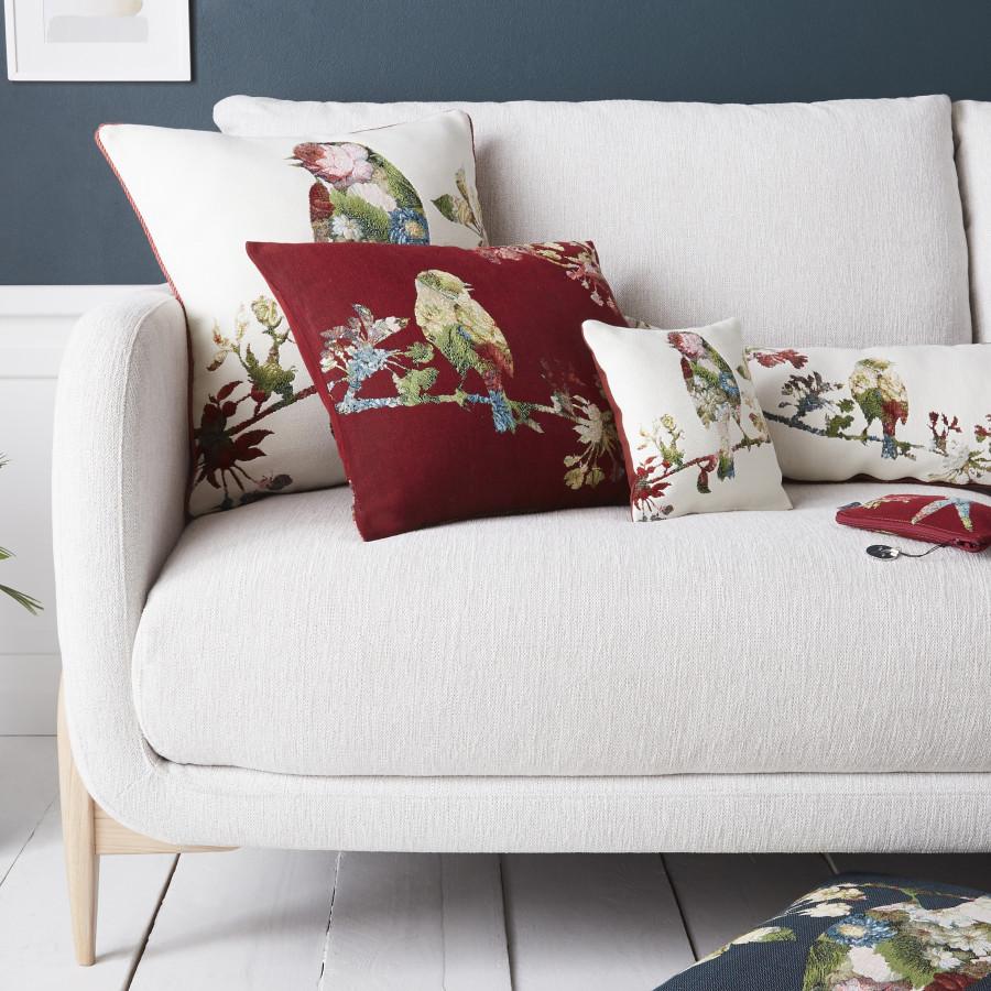5759B : Oiseaux fleuris, fond blanc