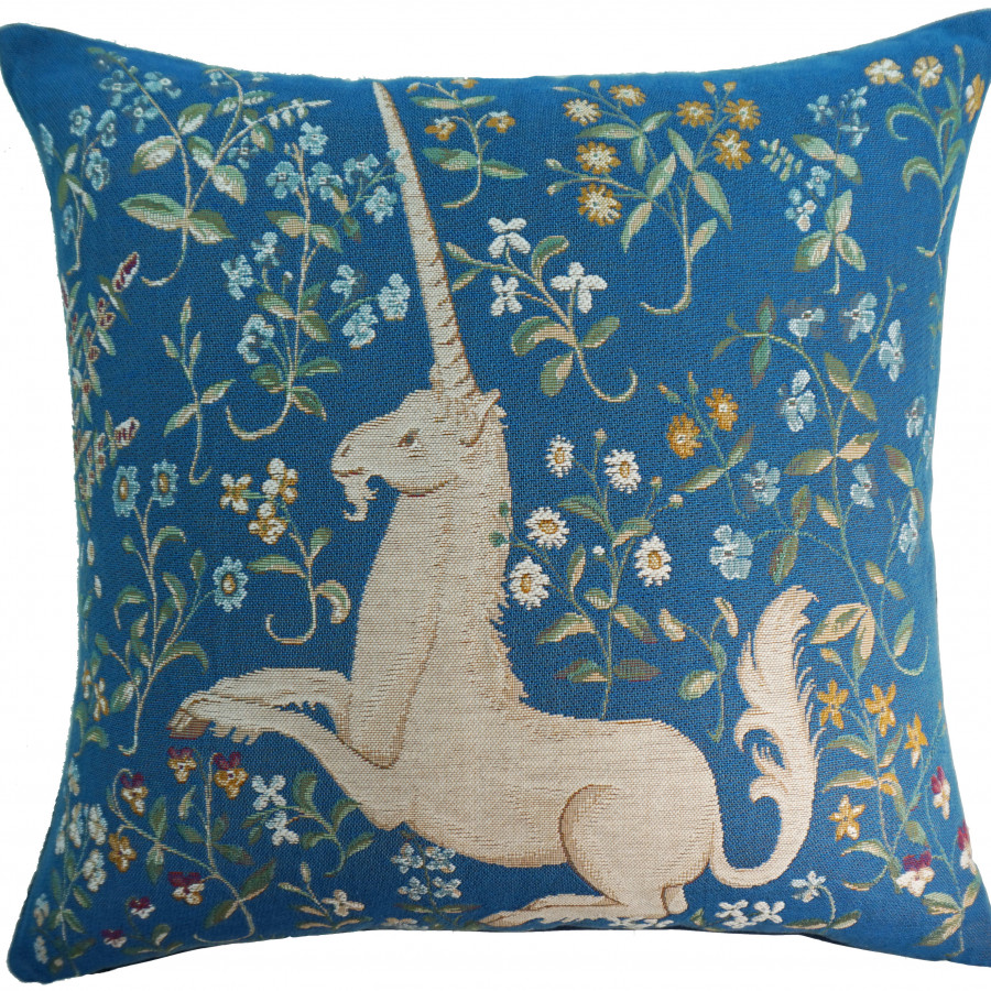 2054T :licorne fleuri, blue background, RMN