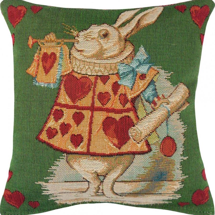 8715V : Lapin coeur, Alice au pays des merveilles fond vert