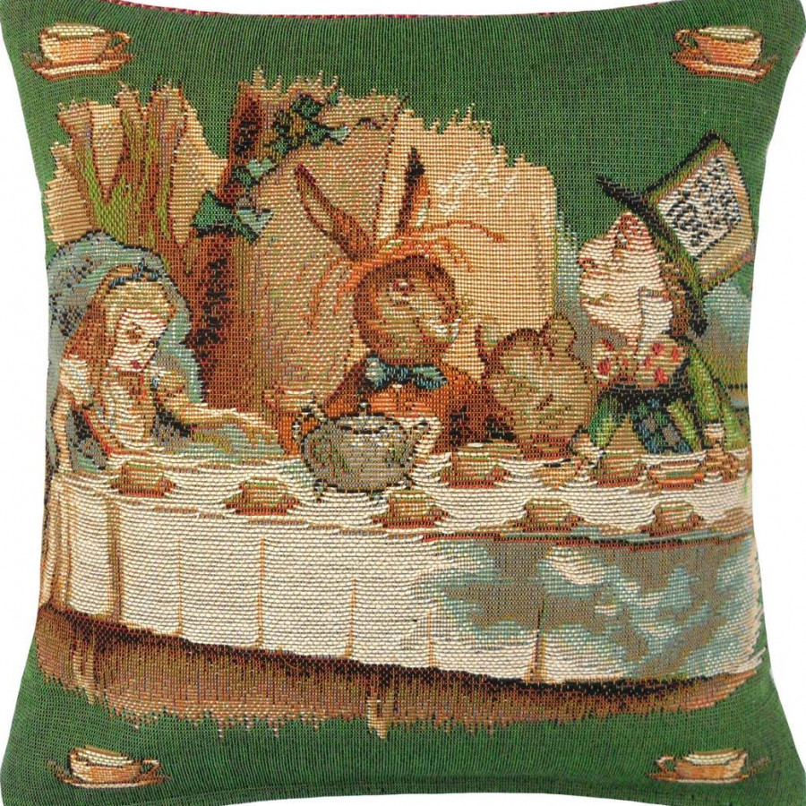 8716V : The tea party, Alice in Wonderland, green background