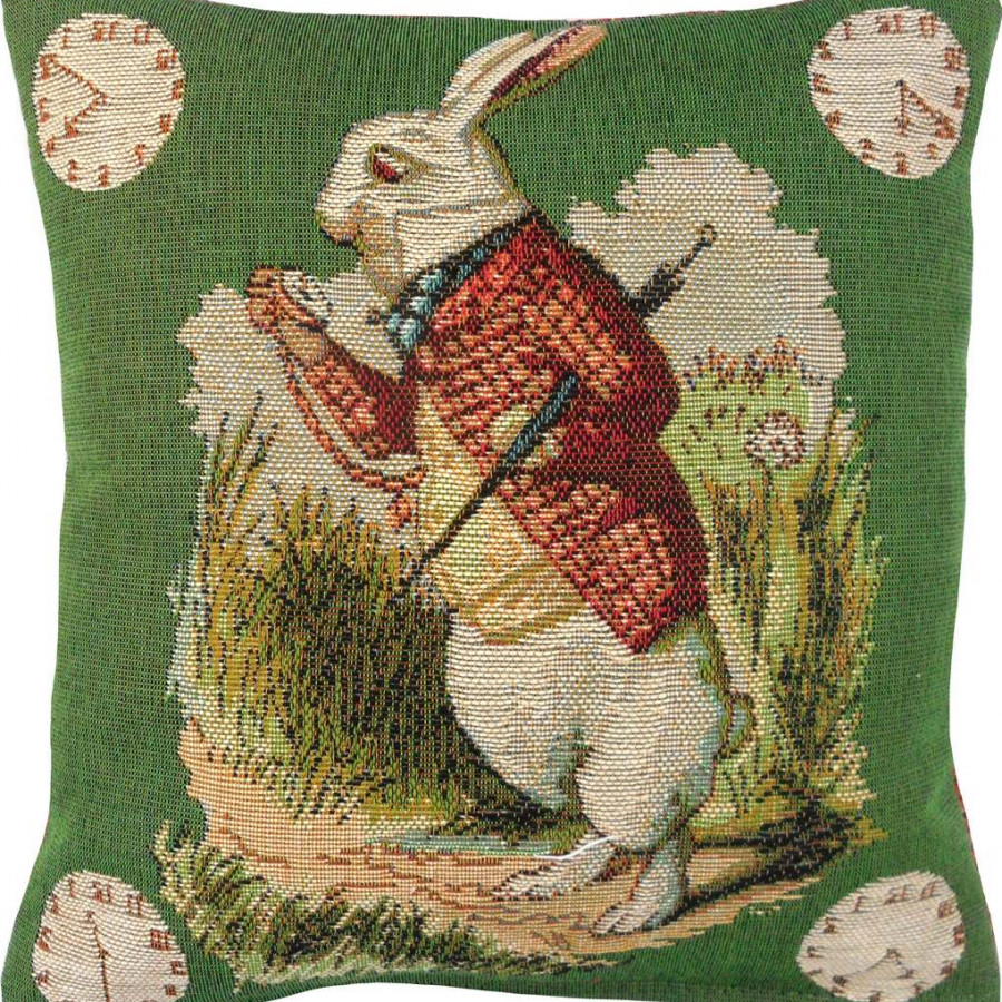 8718V : Late Rabbit, Alice in Wonderland, green background