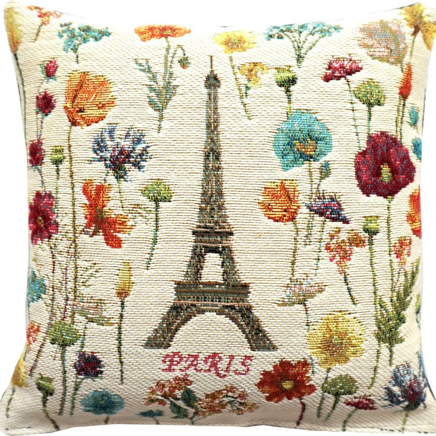 5593B : Eiffel tower and bright flowers, white background
