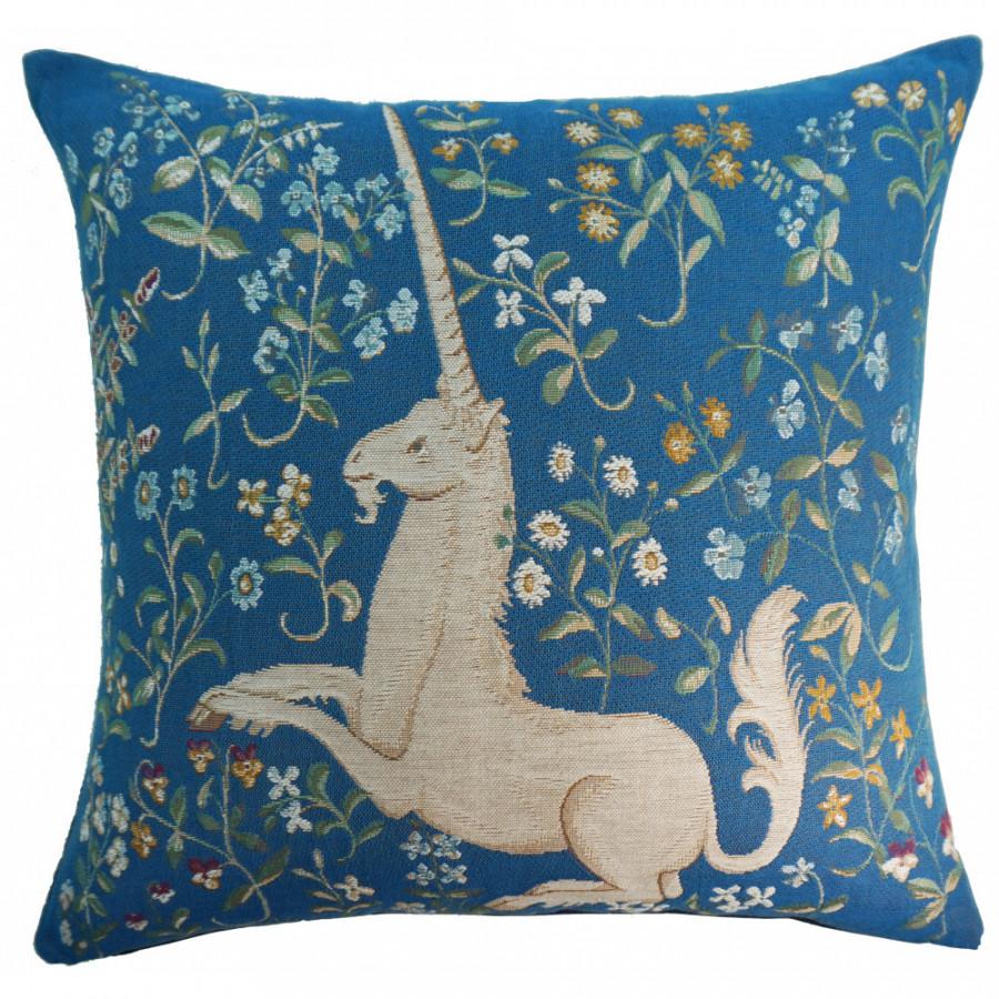 Housse de coussin tapisserie licorne fleuri