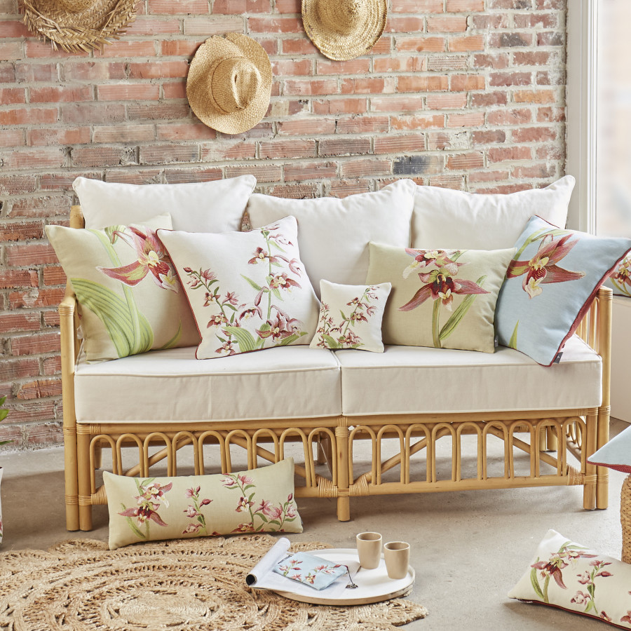 Small tapestry cushion Orchids stems