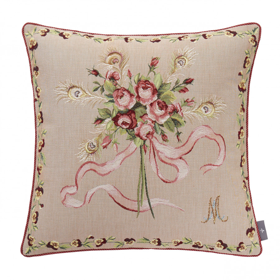 Tapestry cushion cover Roses Bouquet Marie Antoinette