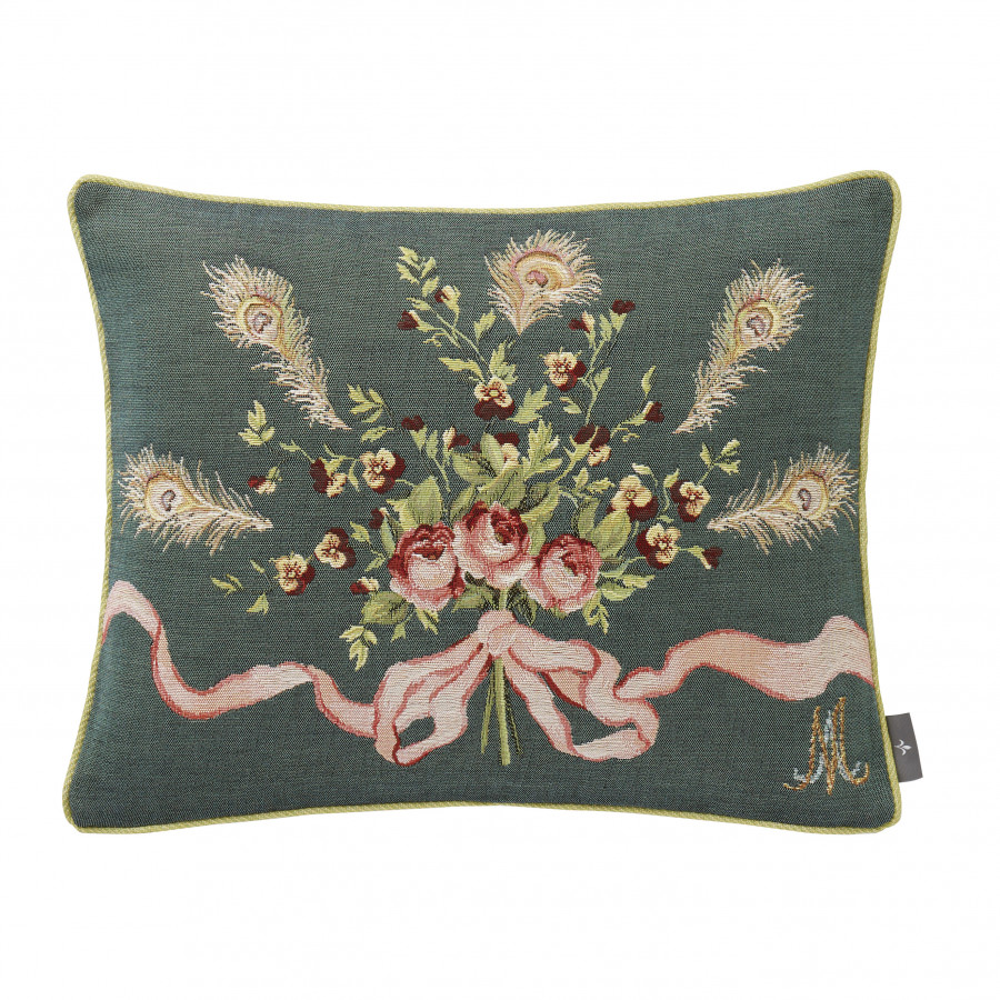 Tapestry cushion cover Roses and pansies Marie Antoinette