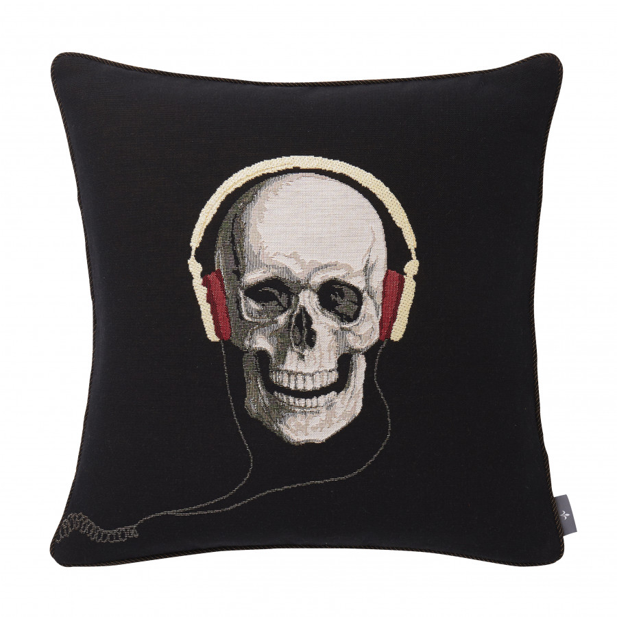Tapestry cushion cover Skull with headphone