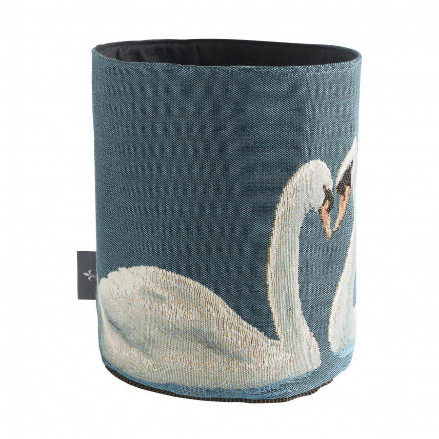 Small tapestry basket Swans