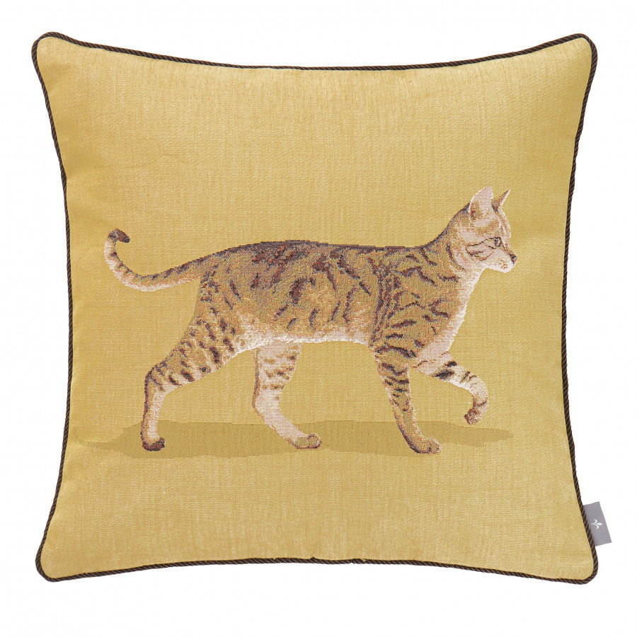 Tapestry cushion cover walking cat