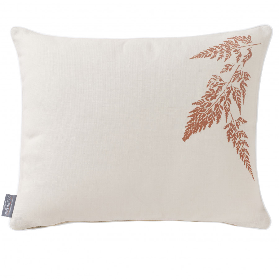 Printed cushion cover light leaves rectangular
