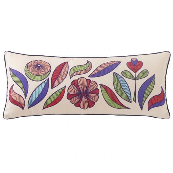 Printed wedge cushion cover multi leaves