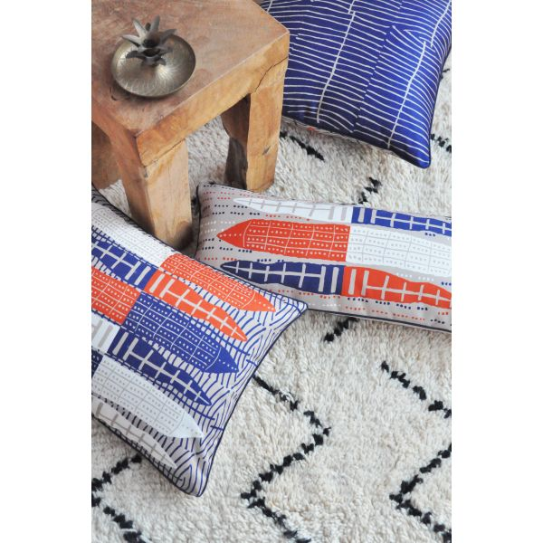 Printed wedge cushion cover Pirogues