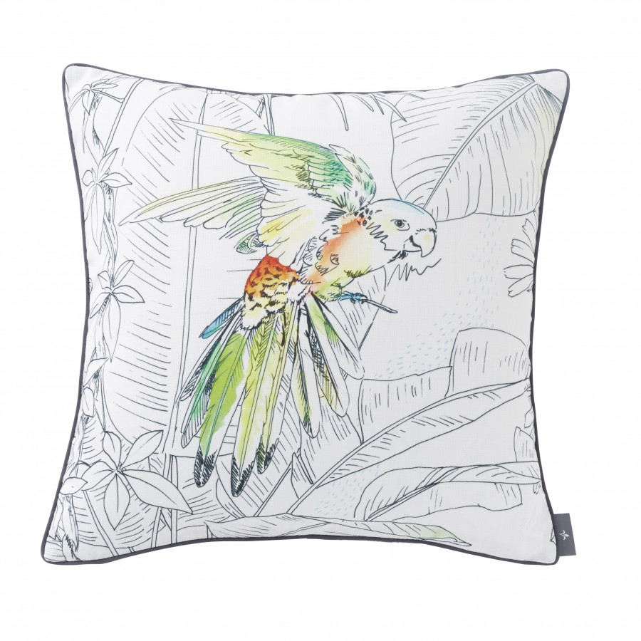 Printed cushion cover Birds jungle square