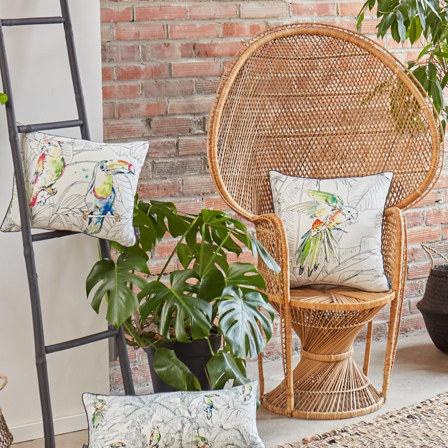 Printed cushion cover Birds jungle square