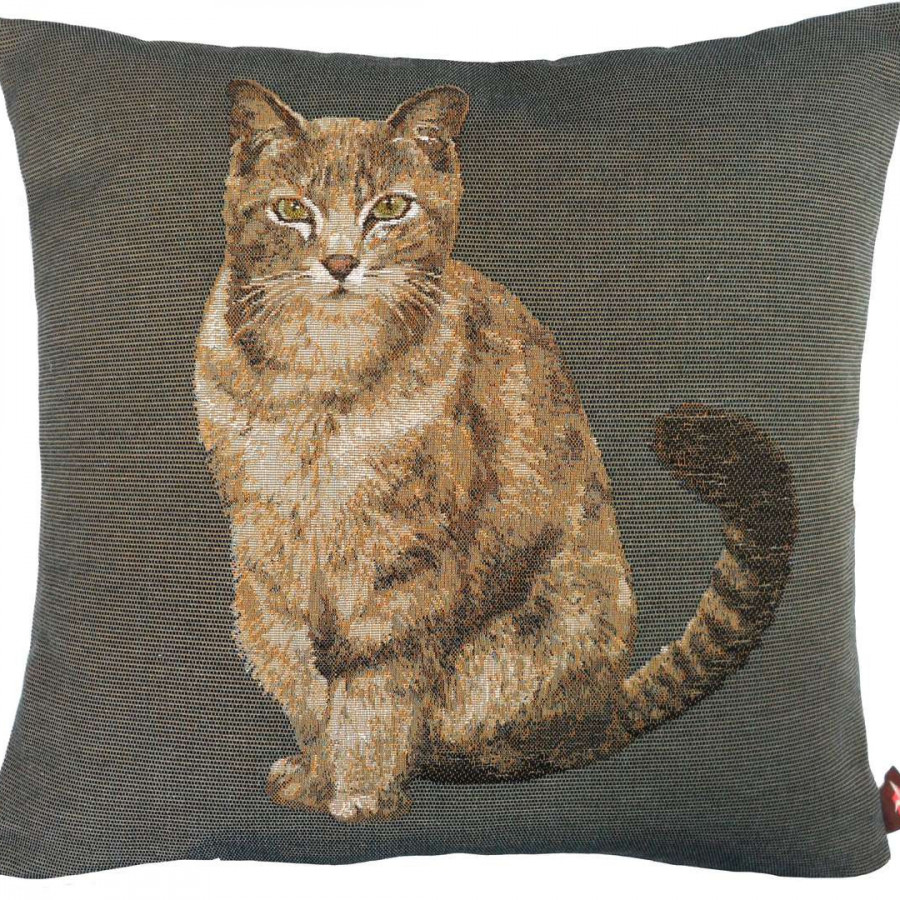 Housse de coussin tapisserie Chat tigré assis