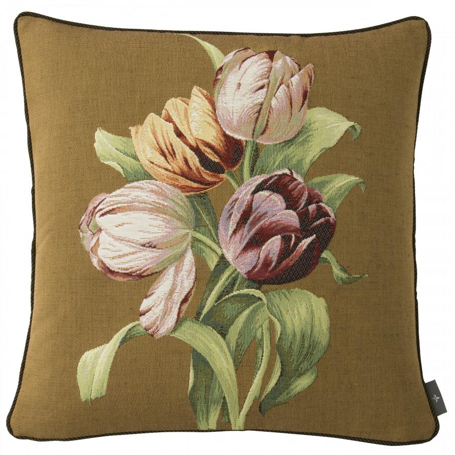 Housse de coussin tapisserie Bouquet de 4 tulipes
