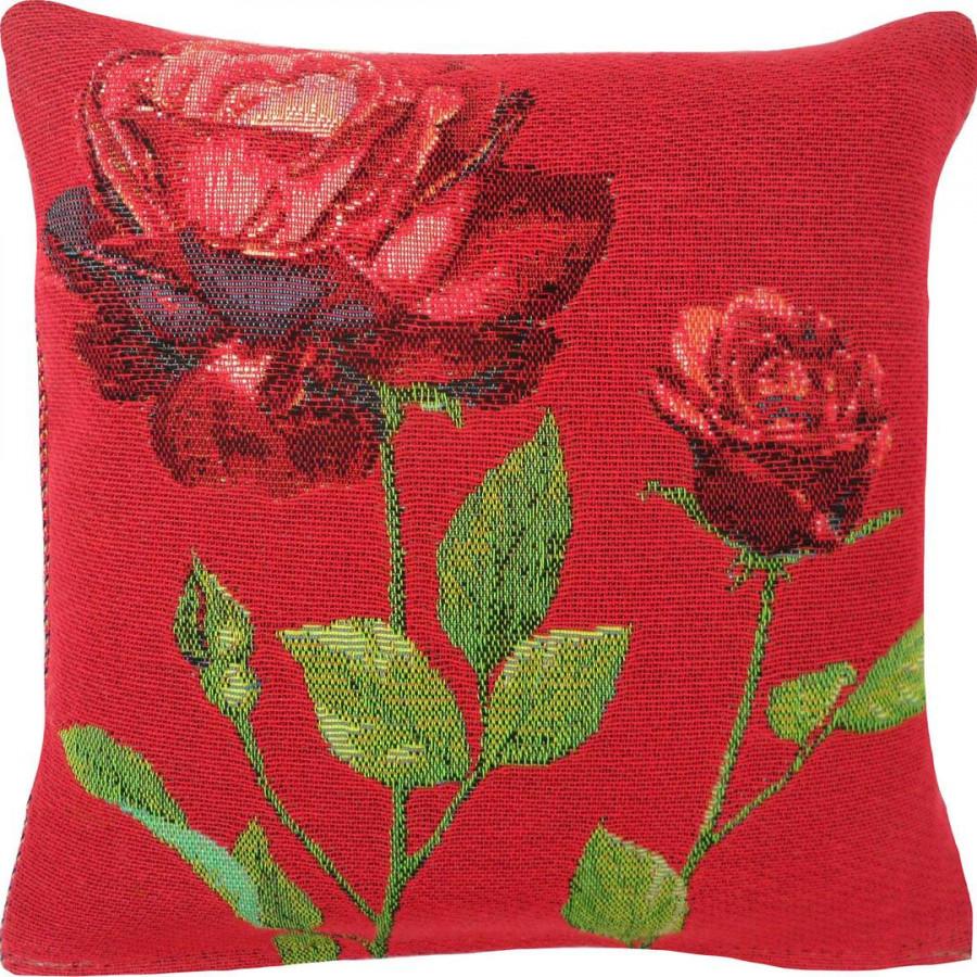 Housse de coussin tapisserie 2 roses rouges
