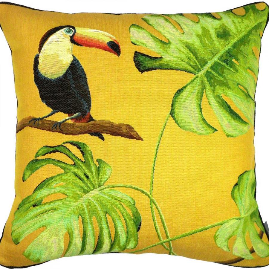 Housse de coussin tapisserie Toucan bec orange