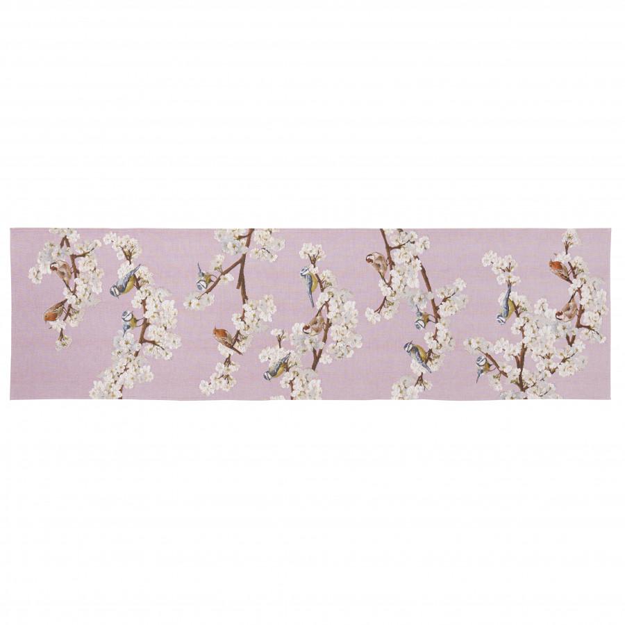 2040R : Passerines on branch, pink background