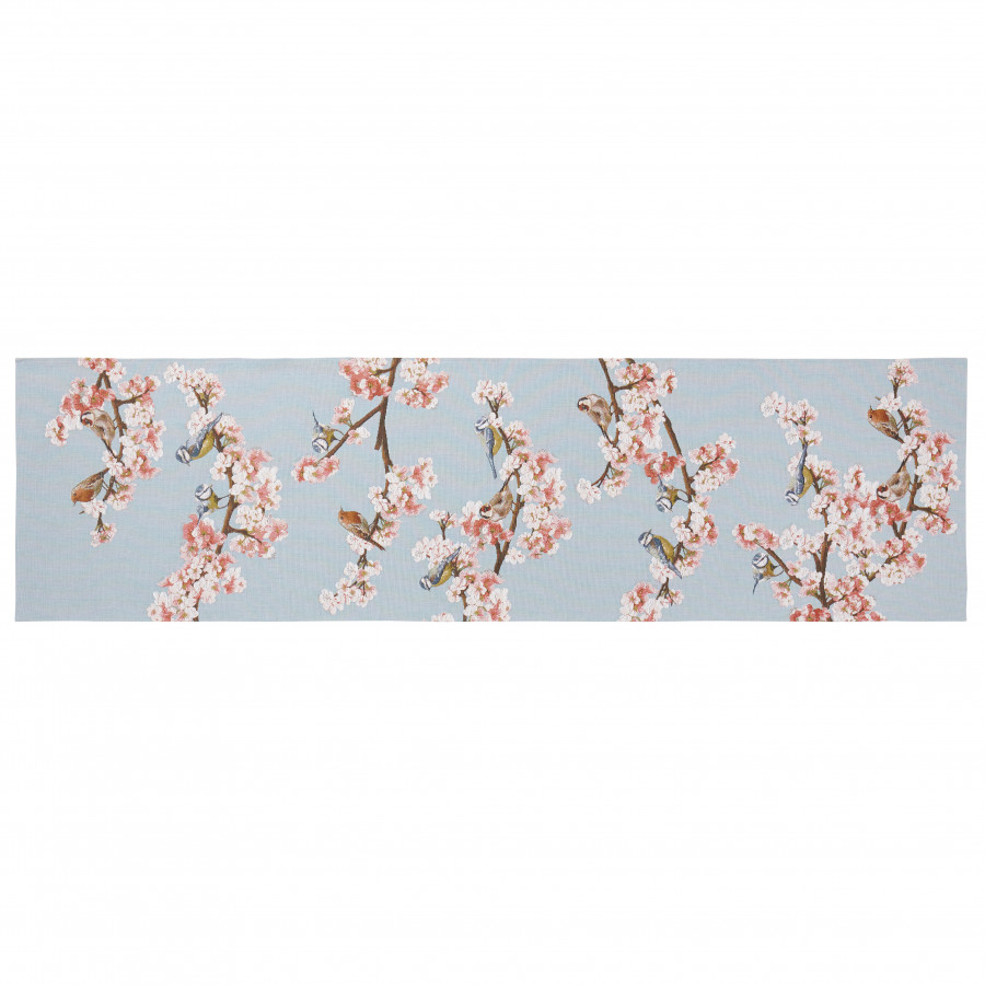 2040B : Passerines on branch, blue background