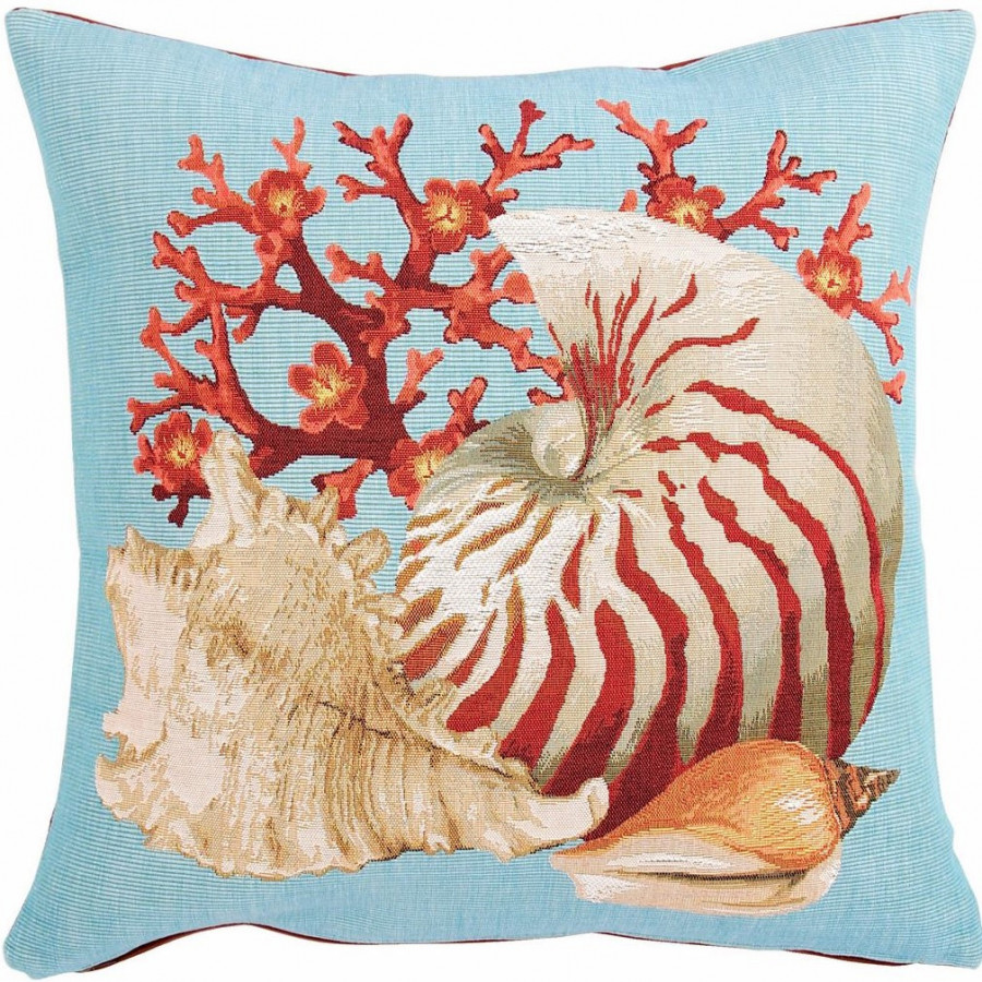 Housse de coussin tapisserie Coquillage