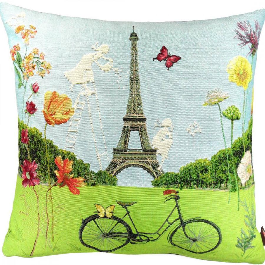 Housse de coussin tapisserie Paris fleuri, Tour Eiffel