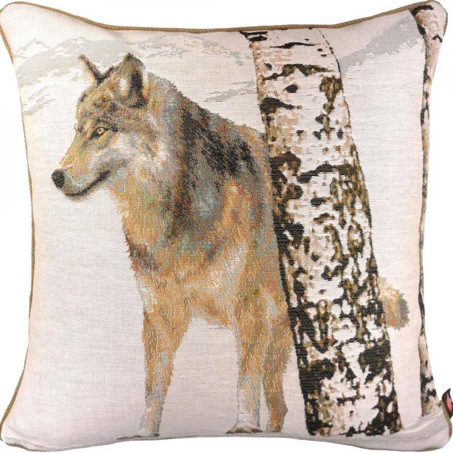 Housse de coussin tapisserie Loup en hiver