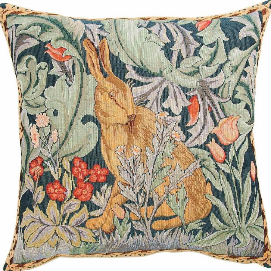 Housse de coussin tapisserie Lapin tête à gauche inspirée par William Morris