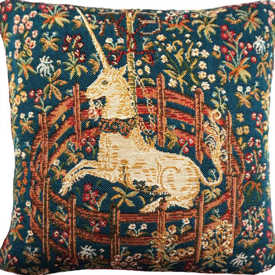 Housse de coussin tapisserie Licorne captive