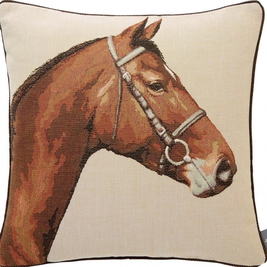 Housse de coussin tapisserie Tête de Cheval