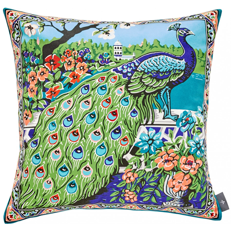 Printed cushion cover Peacock