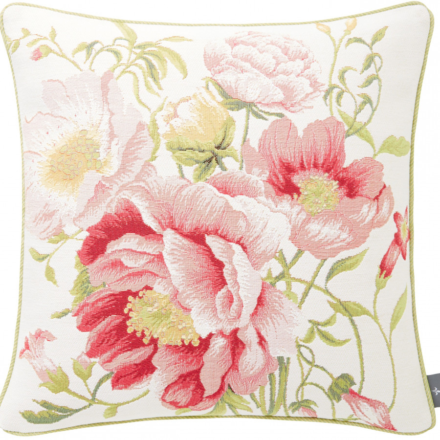 Tapestry cushion cover multi peonies
