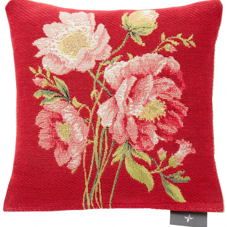Small tapestry cushion bouquet peonies