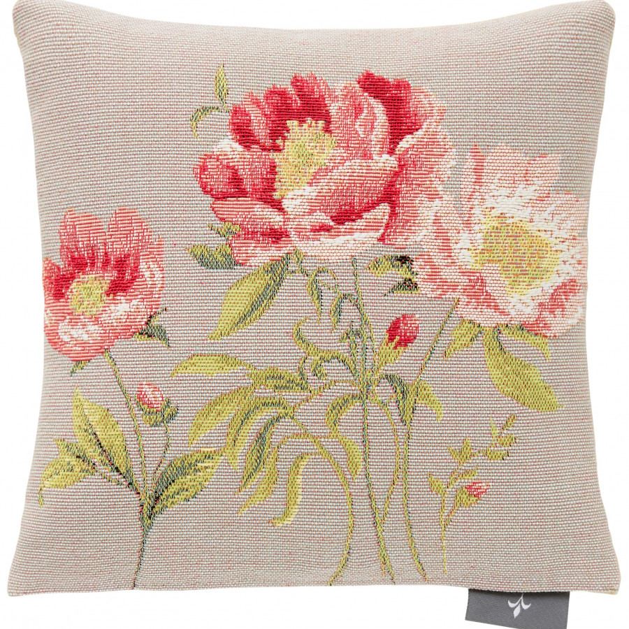 Small tapestry cushion three peonies
