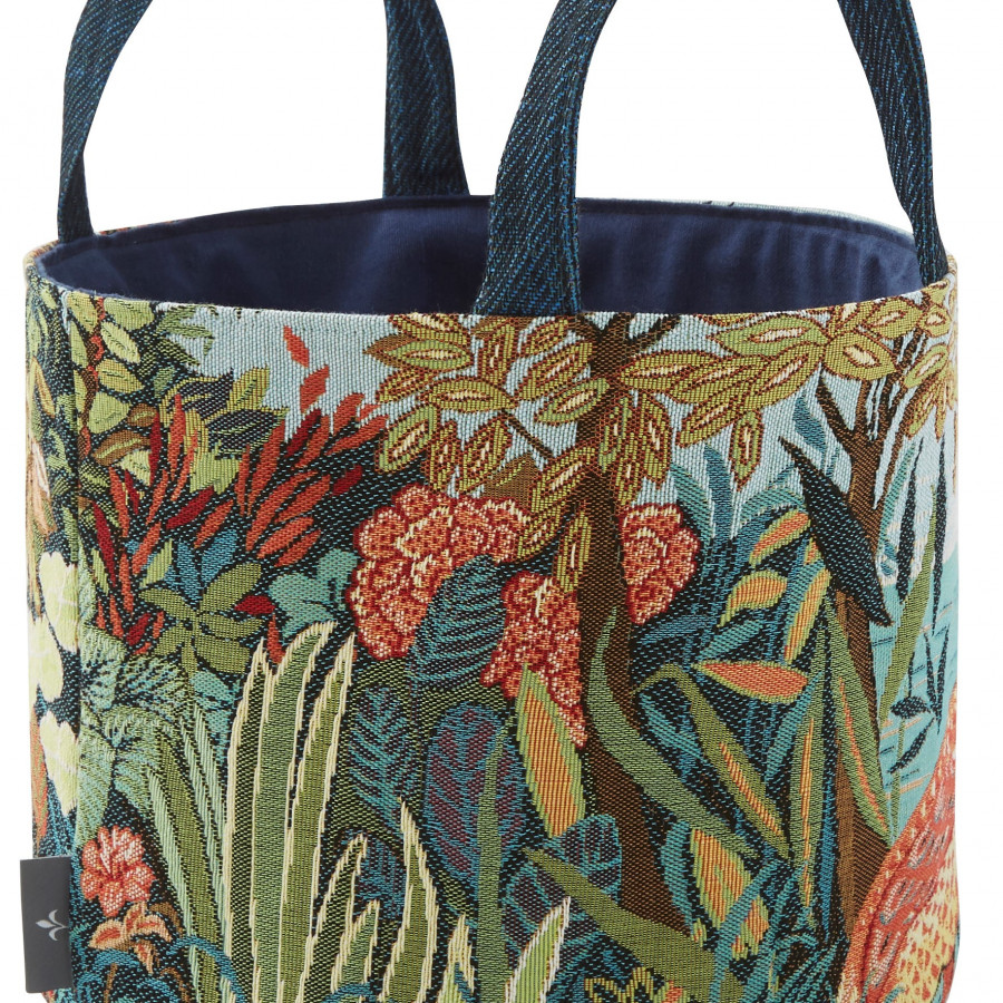 Tapestry basket Birds in a forest