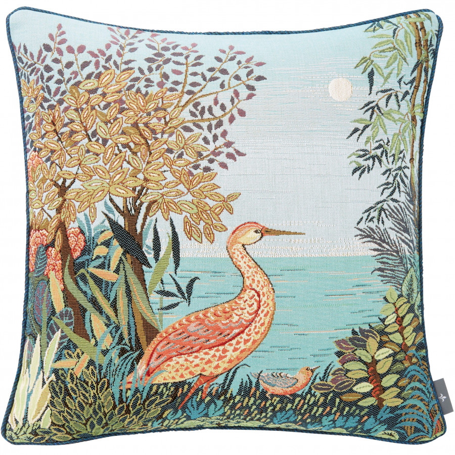Tapestry cushion cover multi Heron in a Forest