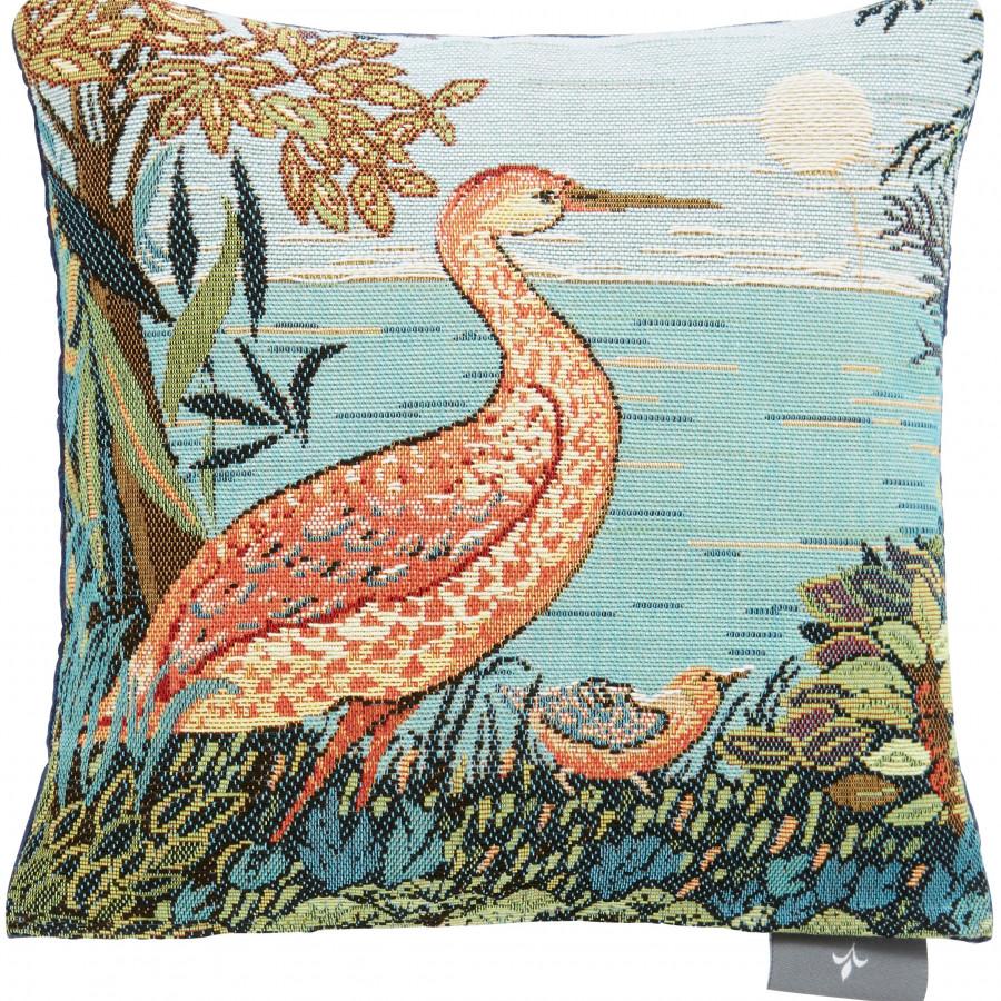 Petit coussin tapisserie Heron en Forêt