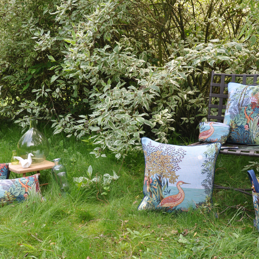 Small tapestry cushion Heron in a Forest