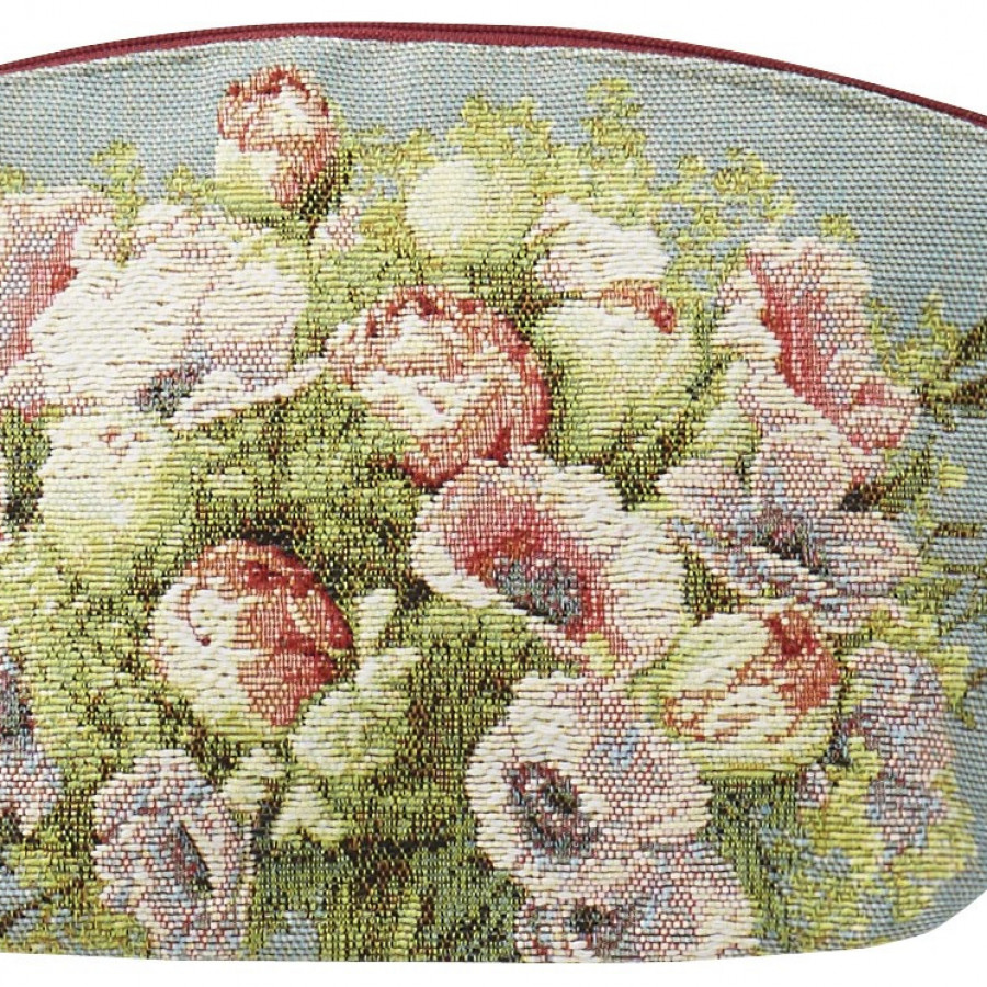 5749 : Cosmetic bag Bouquet and flowers, blue background