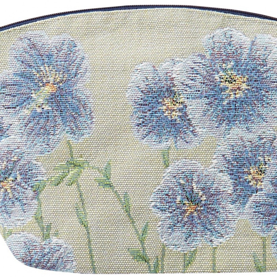 5731 : Cosmetic bag Flax flowers, green backgroung