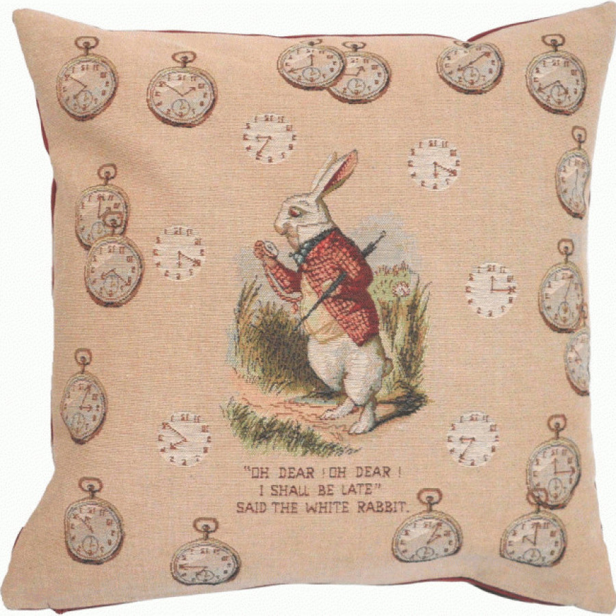 Cushion cover Late Rabbit, Alice in Wonderland