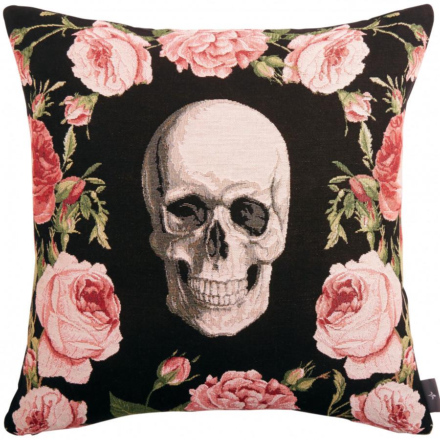 Housse de coussin tapisserie Crâne et Roses