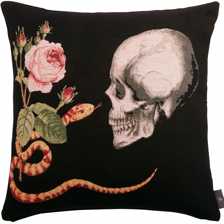 Tapestry cushion cover Skull Rose Snake