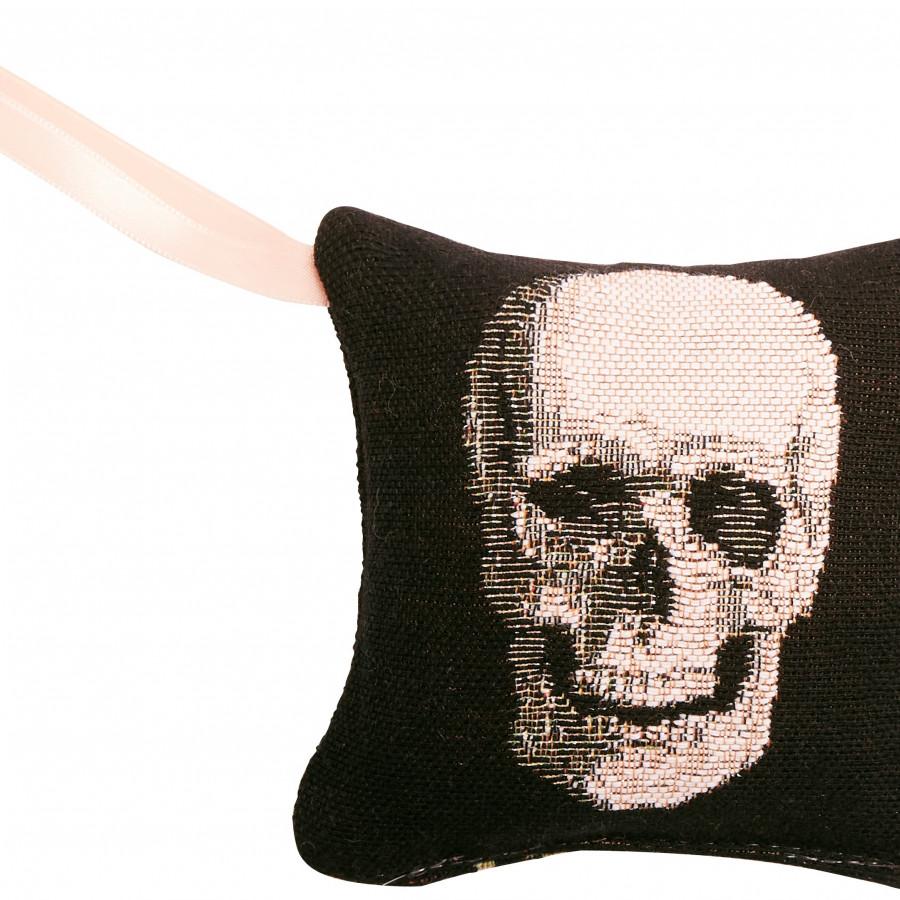 Mini coussin senteur en tapisserie Crâne et Roses