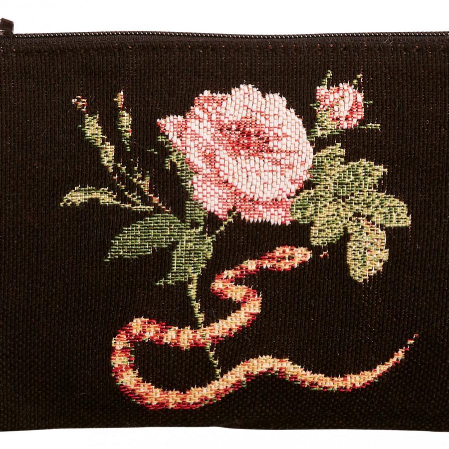 Pochette tapisserie Crâne Roses Serpent