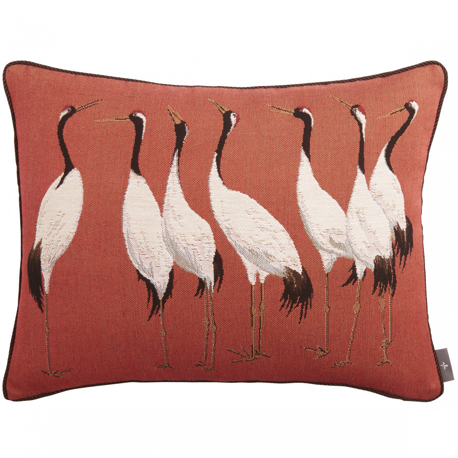 Housse de coussin tapisserie Sept grues blanches